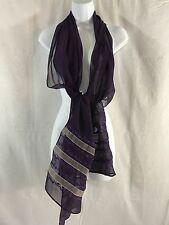 "NWOT Lauren Ralph Lauren Large Sheer Silk scarf 72x20"" Blue with embroid. ribbon"