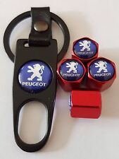 PEUGEOT Red Wheel Valve Dust caps with Black Spanner/Keychain All Models Boxed