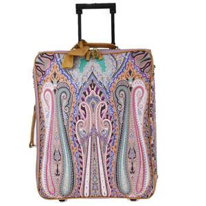 Auth ETRO Paisley Travel Suitcase Hand Bag Paisley PVC Leather Purple 62JC387