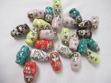 DOLL BEADS Russian Matryoshka lot of 25  PORCELAIN Bead Hand Painted Art NEW