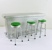 Dollhouse Miniature Long Silver Bar Counter & 3 Stools Set w/ GREEN, T5906