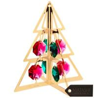 24K Gold Plated Crystal Studded Christmas Tree Hanging Ornament by Matashi