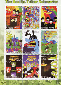 Eritrea Music Stamps 2003 MNH The Beatles Yellow Submarine Celebrities 9v M/S I