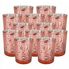 Free Shipping 12pc 2.5inch Rose Gold Mercury Glass Candle Holder Wedding Party
