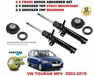 FOR VW TOURAN 2003-2010 NEW 2 X FRONT SHOCK ABSORBER SET + MOUNTINGS + BEARINGS
