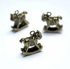 Pack of 10 Antique Bronze colour Charm Rocking Horse Pendant