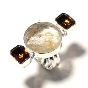 Gloden Rutile & Topaz Gemstone 925 Sterling Silver Handmade Ring s.8 KR-12590