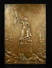 R Casciani glorieuse Jeanne d'Arc en armure Bas relief XIXe en bronze 32 cm