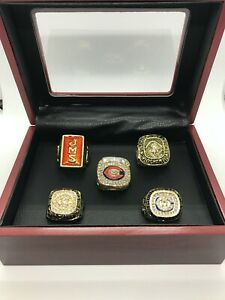 5 Set Chicago Bears Championship Ring with Wooden Display Box 1933 - 2006