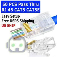 50 Pcs RJ45 Network Modular Plug 8P8C CAT5e Cable Connector End Pass Through