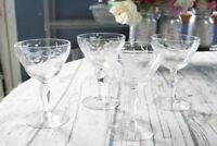 Vintage Champagne Glasses Etched Floral Pattern - Set of 4