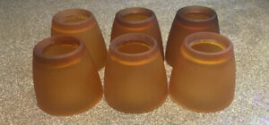 Lot of Five Hampton Bay Frosted Amber Glass Lighting Shades