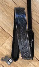 Leather Craft Celtic Embossed Black Guitar Strap