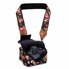 DSLR Camera Sleeve Case AND Camera Strap with Floral Neoprene Design by USA Gear