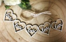 wooden hanging wedding Decoration Rustic white LOVE hearts 5x heart with string