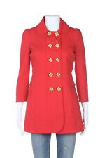 NWT JUICY COUTURE Coat XS Red Gold Flower Double Breasted Jacket  Crop Sleeve