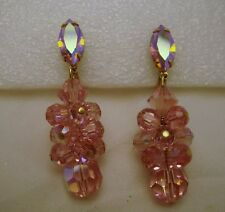 Pink Glass Crystal Rhinestone Dangle Earrings Sparkle Vintage Costume Jewelry
