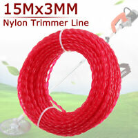 15m x 3mm Nylon Trimmer Line Rope Roll Cord Wire String Grass Strimmer Garden
