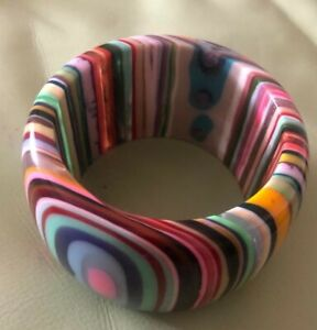 DESIGNER BRACELET SOBRAL RAINBOW STRIPED BANGLE CHUNKY LUCITE JEWELRY COLLECTORS