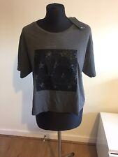 Zara Cropped Tshirt Top Printed Stars Design Grey BNWT Size L