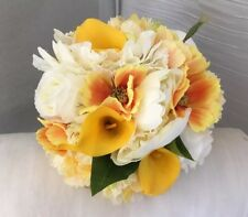 Beautiful Artificial Bridal Bouquet In Yellow And Ivory Wedding Flowers Lily
