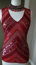 M&S Red Sparkly Crochet Fitted Top Orange Mix Sequins Party, Ball, Cruise UK 10