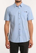 NEW RUSTY LUNAR SHORT SLEEVE SHIRT SOLID POOLSIDE BLUE CONTRAST BUTTONS RRP$60