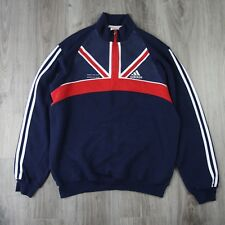 Mens Vintage Adidas 1/2 Zip GB Athletics Track Tracksuit Top Pullover Jumper M