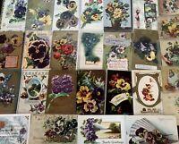 Pretty~LOT of 25~PANSY~Pansies~Flowers ~Greetings Postcards-In Sleeves-c246