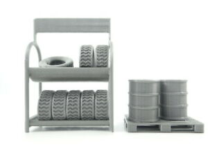 Diorama Parts Scale 1:24 Garage Equipment Tires Shelf Euro Pallet And Barrels