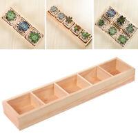 KQ_ Multi Grid Wooden Flower Bonsai Planter Box Desktop Storage Holder Organizer