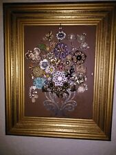 Framed Flower jewelry art. Handmade, original piece. A bouguet of flowers.