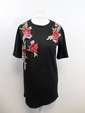Missguided Embroidered Shift Dress Black Size UK 8 Box47 46 G