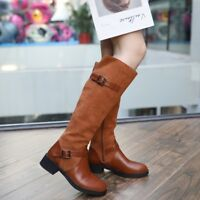 Women Ladies Flat Low Heel Riding Knee High Boots Buckle Vintage Shoes Size2.5-6