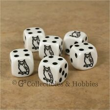 NEW Set of 6 Black Owl Dice Six Sided RPG D&D Bunco Board Game Bird Animal D6
