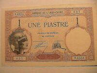 1927 1 Piastre Original Choice CU Gem French Indochina Paper Money Currency P48b