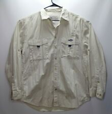 AFTCO American Fishing Tackle Co. Size L Bluewater SS Vented Tan Button Up Shirt