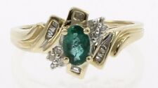 Ladies Genuine Emerald and Diamond Ring in 10 Kt Yellow Gold