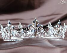 Imperial Medieval Tiaras Silver Rhinestones Bridal Crowns Pageant Party Art Deco