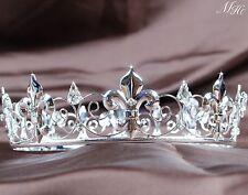 Imperial Medieval Tiaras Silver Rhinestones Bridal Crowns Pageant Party Art Deco