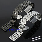 New 18 20 21 22 mm Solid Stainless Steel Bracelet Strap Button Clasp Watch Band