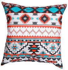 "Sky Blue White Orange Multicolour Aztec Print Cotton 18"" X 18"" Cushion Cover"