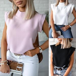 Womens Padded Shoulder Sleeveless T-Shirt Tops Design Plain Loose Summer Blouse