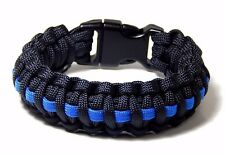 Cobra Weave Paracord Bracelet Thin Blue Line Support Police Hand Made USA 8 inch