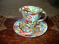 Beautiful Vintage Venetian Millefiore Crazy Quilt Demitasse Cup and Saucer 1950s