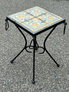 Rare Mid Century Modern Wrought Iron Catalina Tile Top Occasional Table
