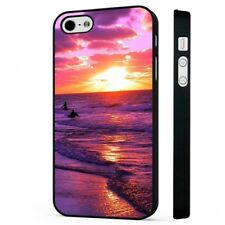 Pink Purple Sunrise Beach Surfing Waves BLACK PHONE CASE COVER fits iPHONE