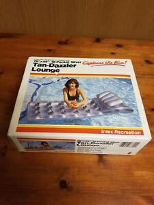 Vintage 1985 Intex Tan Dazzler Lounge Inflatable 18 Pocket Pool Raft Float NOS