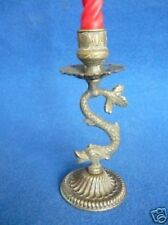 CANDLESTICK CANDLE HOLDER BRASS DRAGON MARINE