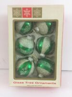 Vintage Green White Glass Christmas Tree Ball Ornaments West Germany  CDZ